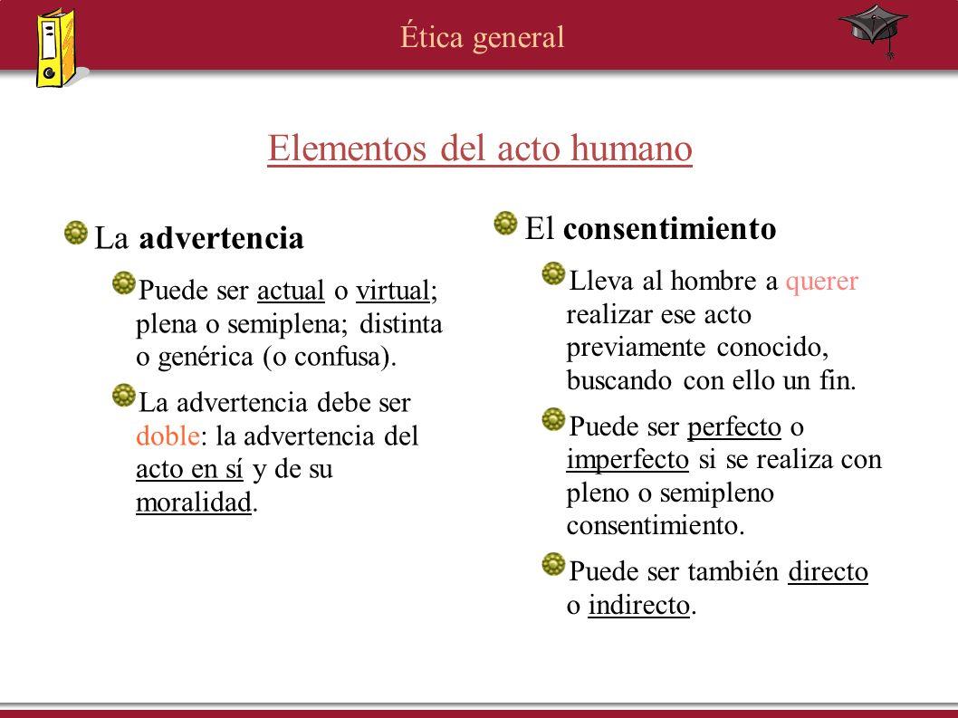 Ética general Elementos del acto humano El consentimiento Lleva al hombre a querer realizar ese acto previamente conocido, buscando con ello un fin. P