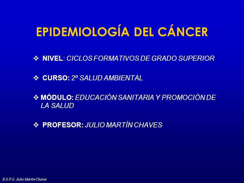 Mortalidad del cáncer (1) 5,2 millones de muertes por cáncer en 1990 55% de las muertes en países desarrollados La razón de mortalidad hombre-mujer en el mundo es de 1,33 La primera causa de muerte por cáncer en el mundo es el cáncer de pulmón Por cáncer de pulmón 900.000 muertes en el mundo E.S.P.S.