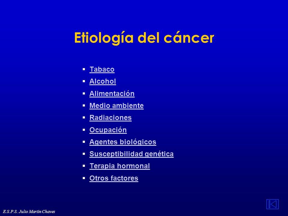 Etiología del cáncer Tabaco Alcohol Alimentación Medio ambiente Radiaciones Ocupación Agentes biológicos Susceptibilidad genética Terapia hormonal Otr
