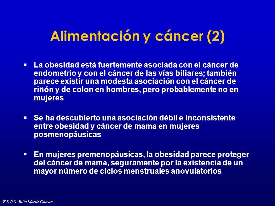 Alimentación y cáncer (2) La obesidad está fuertemente asociada con el cáncer de endometrio y con el cáncer de las vías biliares; también parece exist