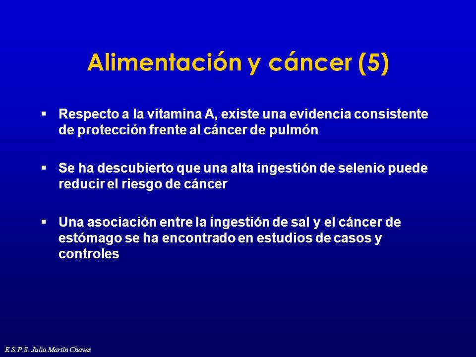 Alimentación y cáncer (5) Respecto a la vitamina A, existe una evidencia consistente de protección frente al cáncer de pulmón Se ha descubierto que un