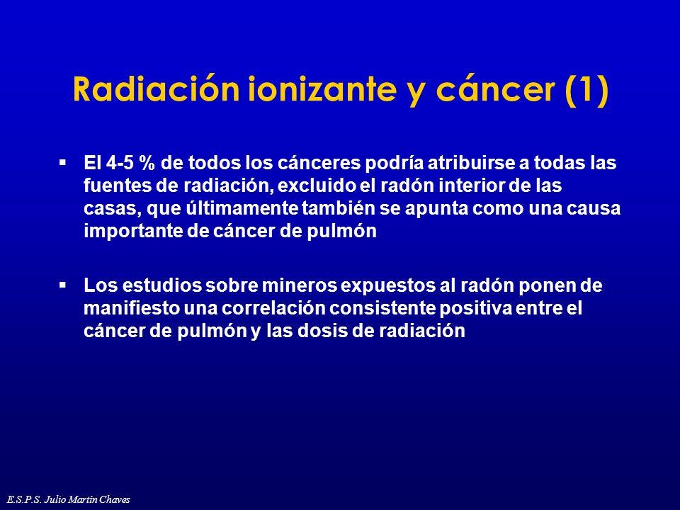 Radiación ionizante y cáncer (1) El 4-5 % de todos los cánceres podría atribuirse a todas las fuentes de radiación, excluido el radón interior de las