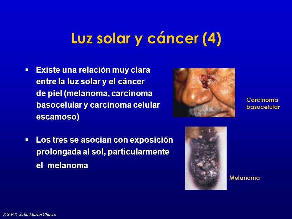 Luz solar y cáncer (4) Existe una relación muy clara entre la luz solar y el cáncer de piel (melanoma, carcinoma basocelular y carcinoma celular escam