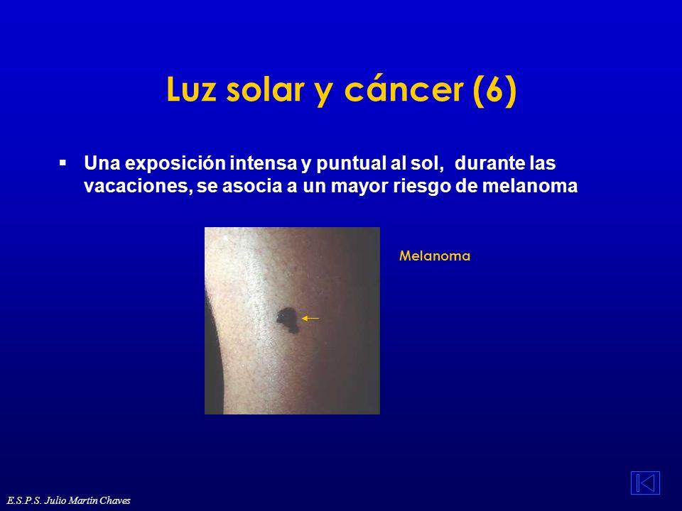 Luz solar y cáncer (6) Una exposición intensa y puntual al sol, durante las vacaciones, se asocia a un mayor riesgo de melanoma Melanoma E.S.P.S. Juli