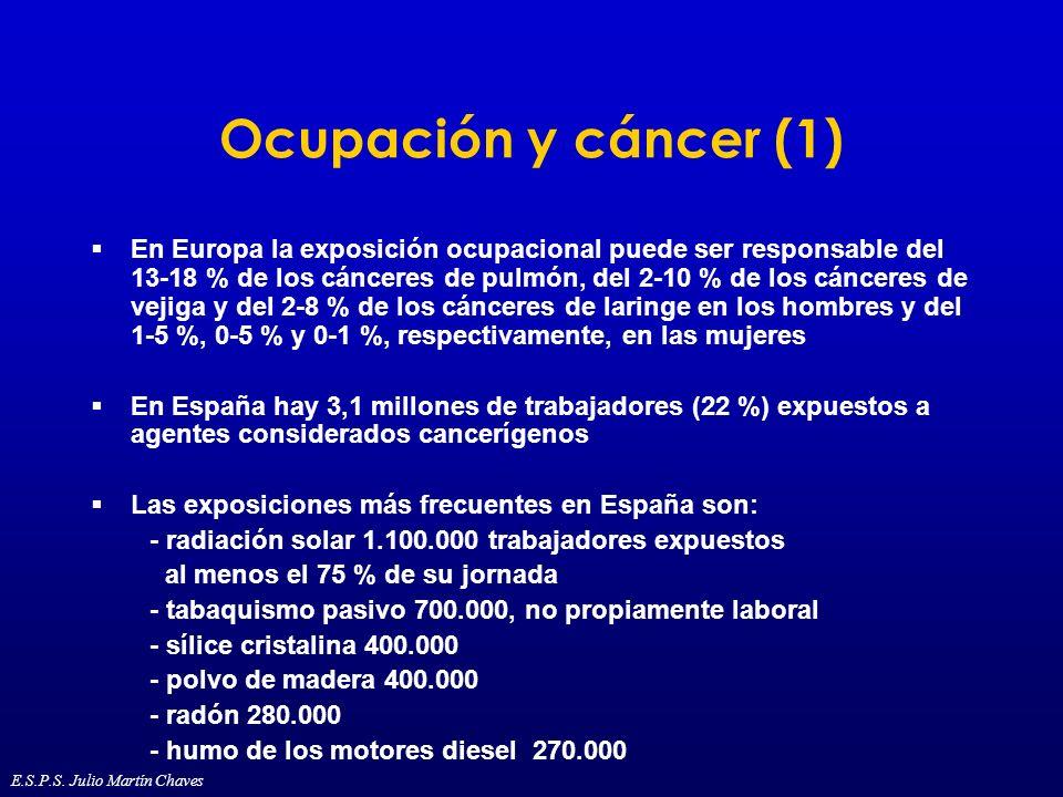 Ocupación y cáncer (1) En Europa la exposición ocupacional puede ser responsable del 13-18 % de los cánceres de pulmón, del 2-10 % de los cánceres de