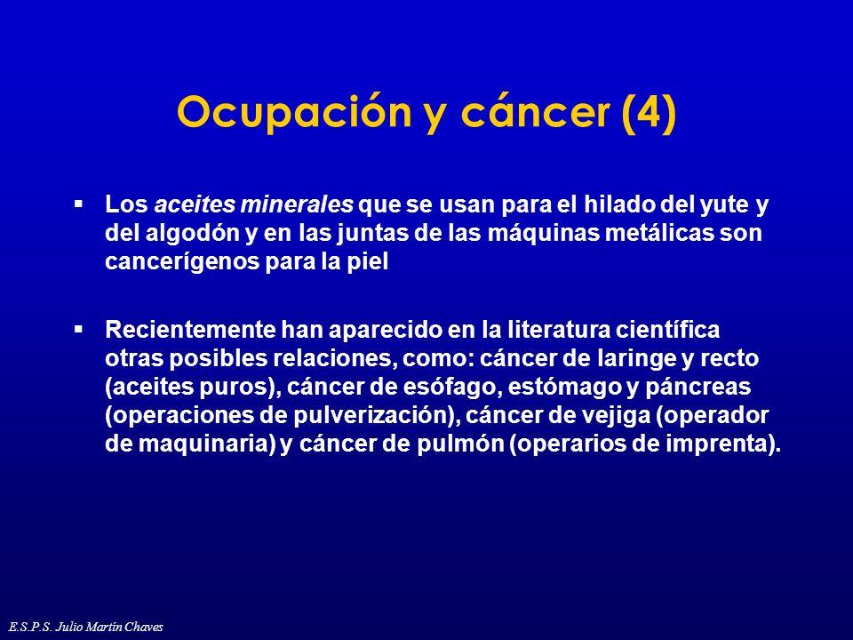 Ocupación y cáncer (4) Los aceites minerales que se usan para el hilado del yute y del algodón y en las juntas de las máquinas metálicas son canceríge