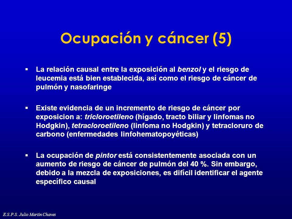 Ocupación y cáncer (5) La relación causal entre la exposición al benzol y el riesgo de leucemia está bien establecida, así como el riesgo de cáncer de