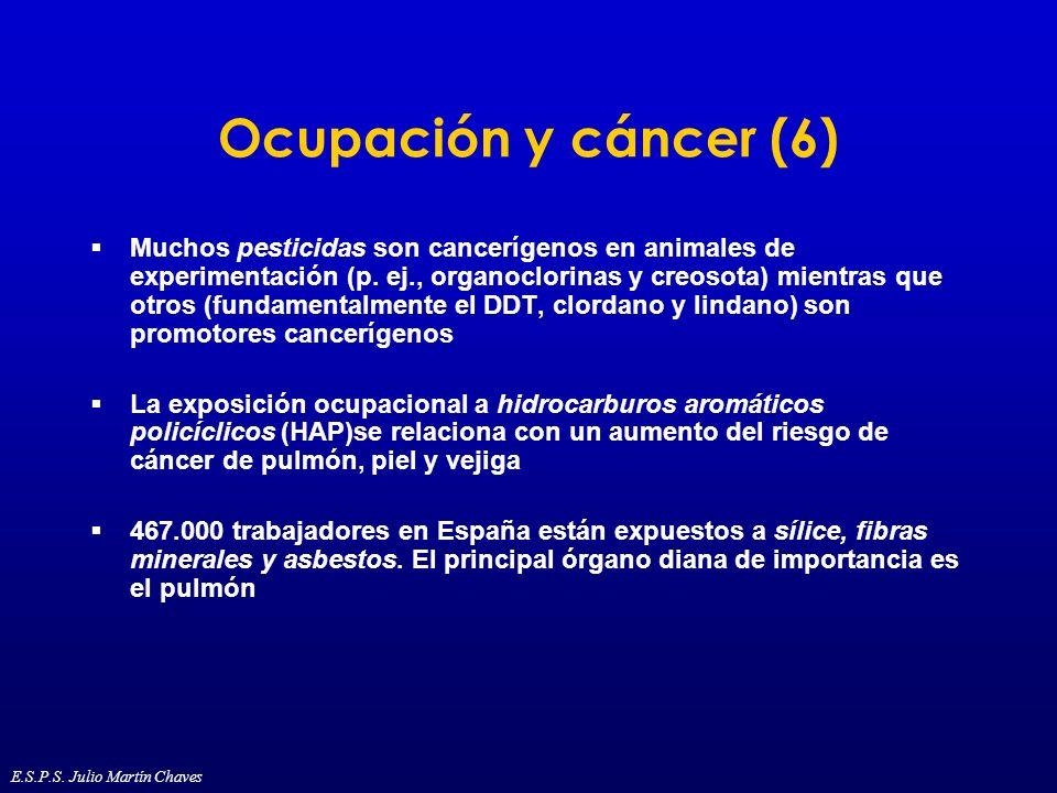 Ocupación y cáncer (6) Muchos pesticidas son cancerígenos en animales de experimentación (p. ej., organoclorinas y creosota) mientras que otros (funda