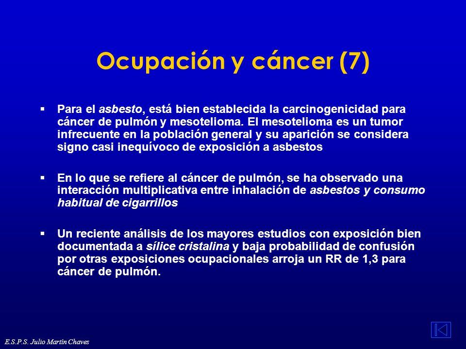 Ocupación y cáncer (7) Para el asbesto, está bien establecida la carcinogenicidad para cáncer de pulmón y mesotelioma. El mesotelioma es un tumor infr