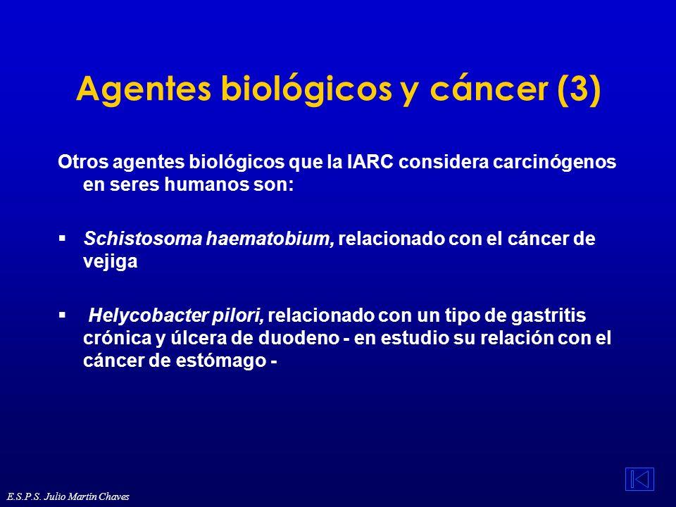 Agentes biológicos y cáncer (3) Otros agentes biológicos que la IARC considera carcinógenos en seres humanos son: Schistosoma haematobium, relacionado