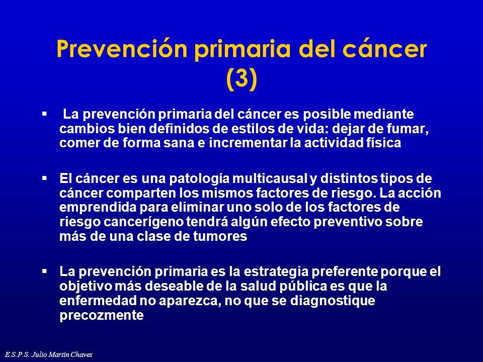 Prevención primaria del cáncer (3) La prevención primaria del cáncer es posible mediante cambios bien definidos de estilos de vida: dejar de fumar, co
