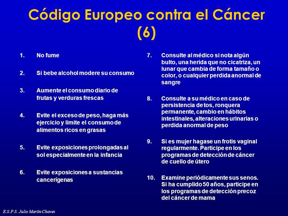 Código Europeo contra el Cáncer (6) 1.No fume 2.Si bebe alcohol modere su consumo 3.Aumente el consumo diario de frutas y verduras frescas 4.Evite el