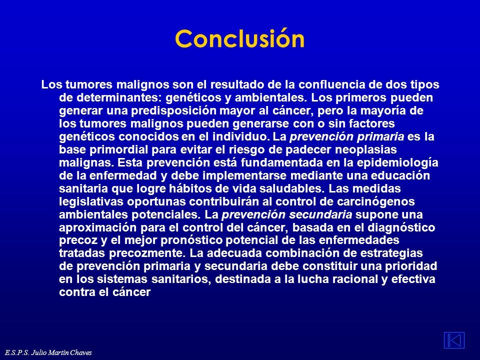 Conclusión Los tumores malignos son el resultado de la confluencia de dos tipos de determinantes: genéticos y ambientales. Los primeros pueden generar