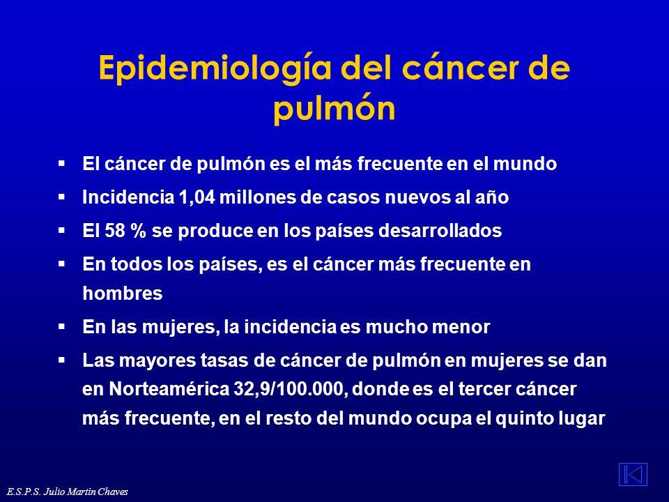 Ocupación y cáncer (3) La exposición ocupacional a aminas aromáticas esta relacionada con el cáncer de vejiga La carcinogenicidad del arsénico (cáncer de pulmón y piel), el cromo y el níquel (cáncer nasal y de pulmón) está bien establecida Los datos epidemiológicos existentes para el berilio y el cadmio son escasos, pero su relación con el cáncer de pulmón se basa en su carcinogenicidad en estudios experimentales Algunos estudios experimentales y epidemiológicos indican que el plomo puede ser un carcinógeno humano E.S.P.S.