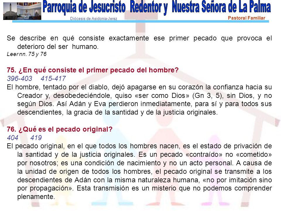 Diócesis de Asidonia-Jerez Pastoral Familiar Se describe en qué consiste exactamente ese primer pecado que provoca el deterioro del ser humano. Leer n