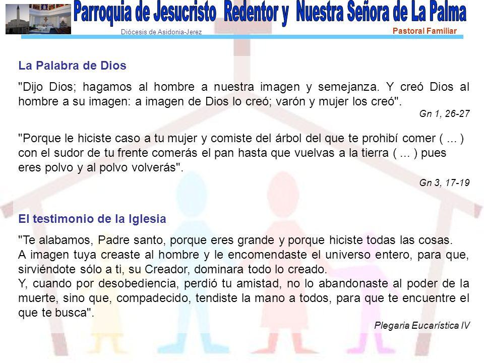 Diócesis de Asidonia-Jerez Pastoral Familiar Recordar Por qué somos imagen de Dios .