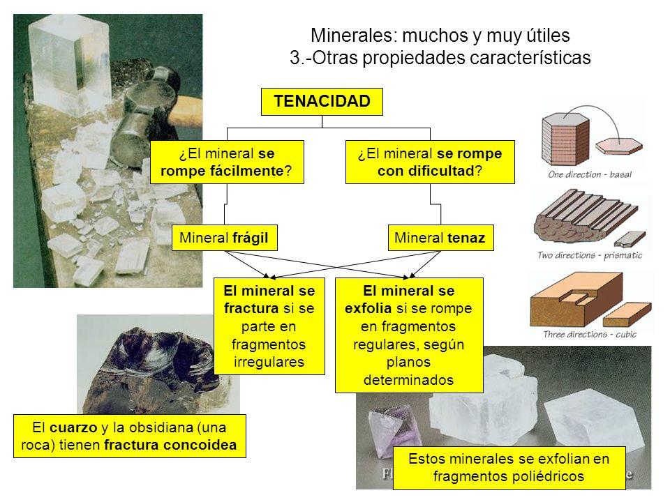El cuarzo y la obsidiana (una roca) tienen fractura concoidea Minerales: muchos y muy útiles 3.-Otras propiedades características TENACIDAD ¿El mineral se rompe fácilmente.