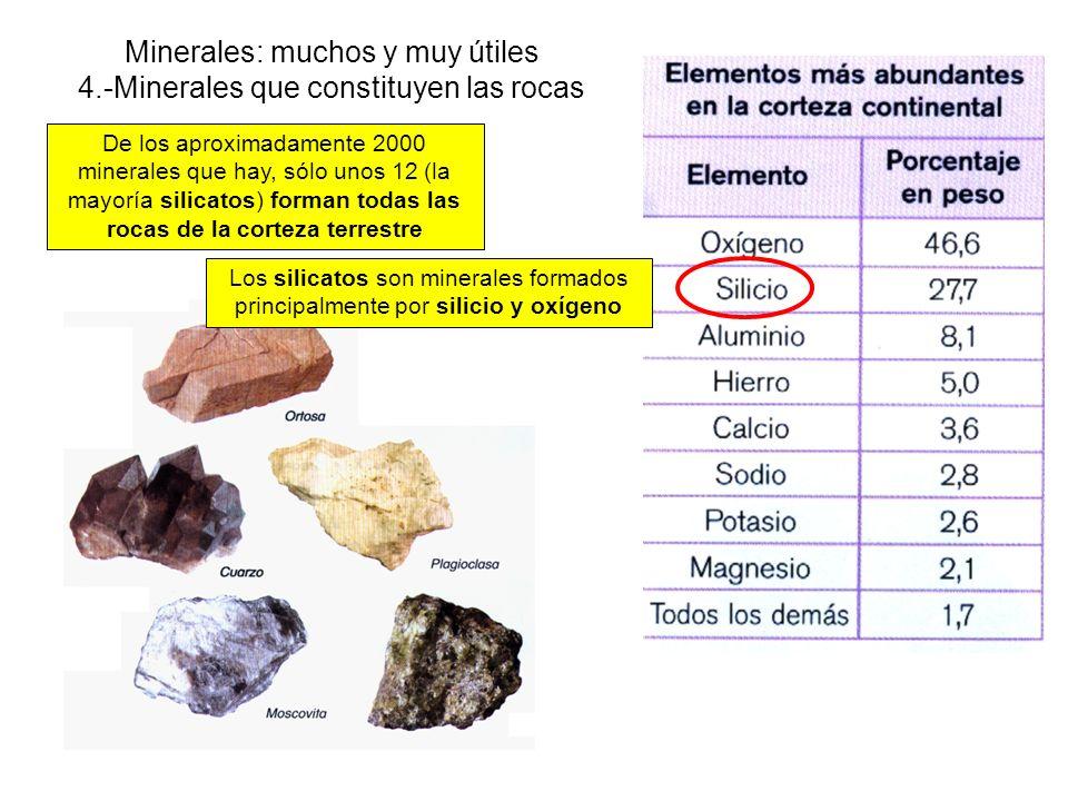 Minerales: muchos y muy útiles 4.-Minerales que constituyen las rocas De los aproximadamente 2000 minerales que hay, sólo unos 12 (la mayoría silicatos) forman todas las rocas de la corteza terrestre Los silicatos son minerales formados principalmente por silicio y oxígeno