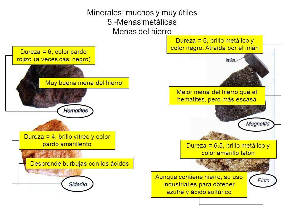 Minerales: muchos y muy útiles 5.-Menas metálicas Menas del hierro Dureza = 6, color pardo rojizo (a veces casi negro) Dureza = 6, brillo metálico y color negro.