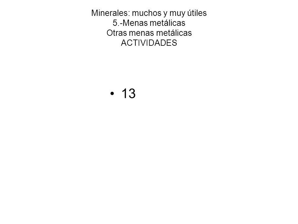 Minerales: muchos y muy útiles 5.-Menas metálicas Otras menas metálicas ACTIVIDADES 13