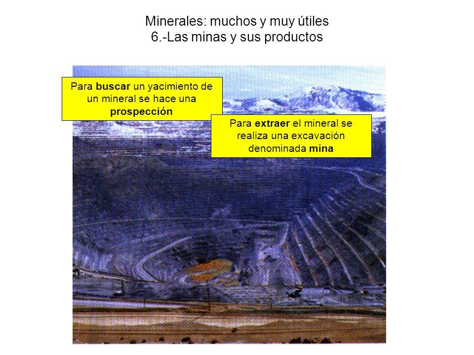 Minerales: muchos y muy útiles 6.-Las minas y sus productos Para buscar un yacimiento de un mineral se hace una prospección Para extraer el mineral se realiza una excavación denominada mina