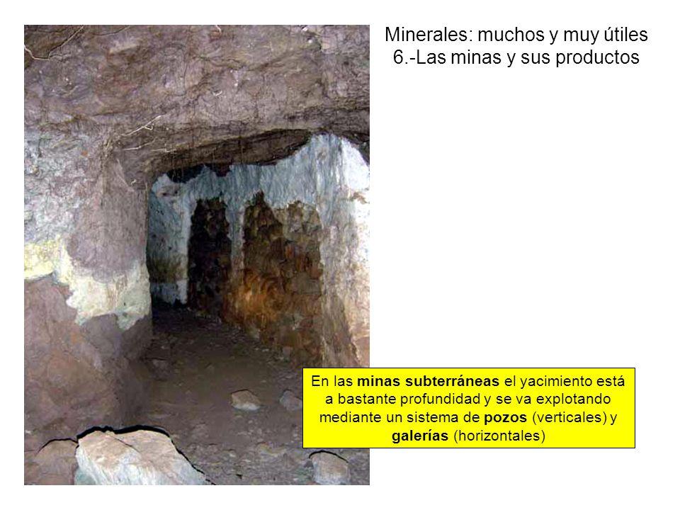 Minerales: muchos y muy útiles 6.-Las minas y sus productos En las minas subterráneas el yacimiento está a bastante profundidad y se va explotando mediante un sistema de pozos (verticales) y galerías (horizontales)