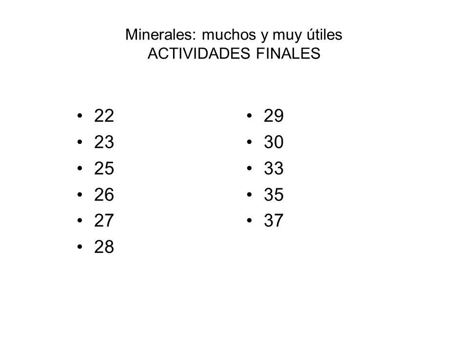 Minerales: muchos y muy útiles ACTIVIDADES FINALES 22 23 25 26 27 28 29 30 33 35 37