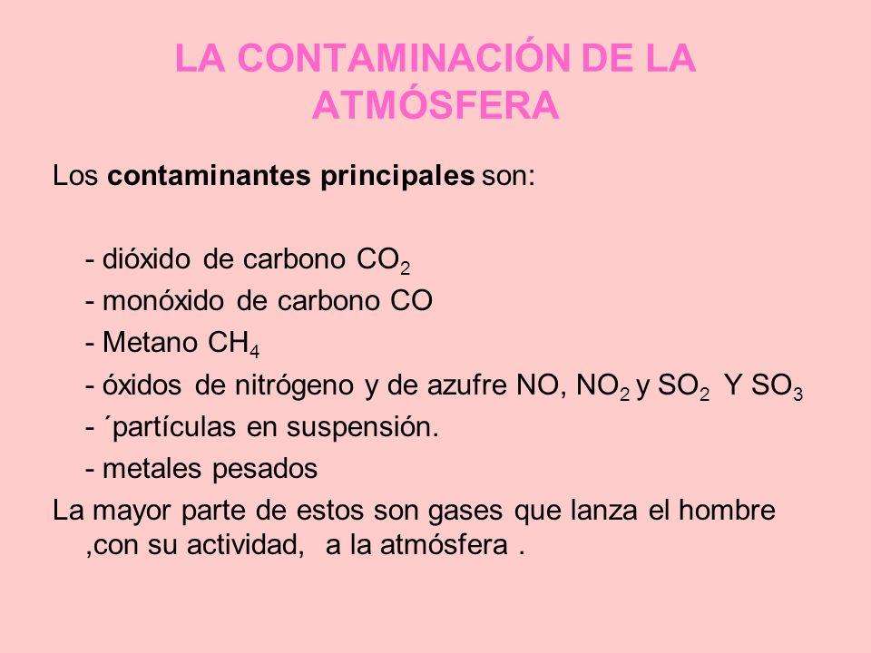 LA CONTAMINACIÓN DE LA ATMÓSFERA Los contaminantes principales son: - dióxido de carbono CO 2 - monóxido de carbono CO - Metano CH 4 - óxidos de nitró