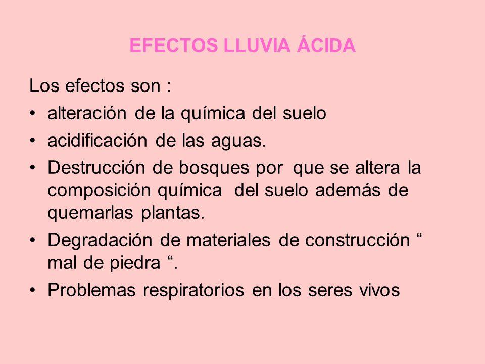 EFECTOS LLUVIA ÁCIDA Los efectos son : alteración de la química del suelo acidificación de las aguas. Destrucción de bosques por que se altera la comp