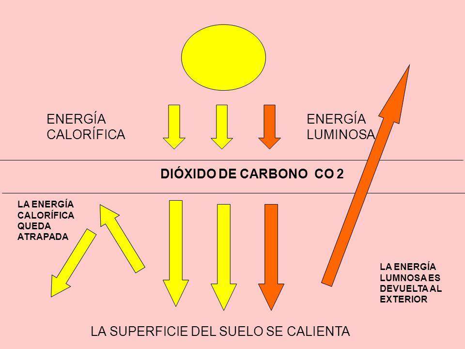 DIÓXIDO DE CARBONO CO 2 LA SUPERFICIE DEL SUELO SE CALIENTA ENERGÍA LUMINOSA ENERGÍA CALORÍFICA LA ENERGÍA CALORÍFICA QUEDA ATRAPADA LA ENERGÍA LUMNOS