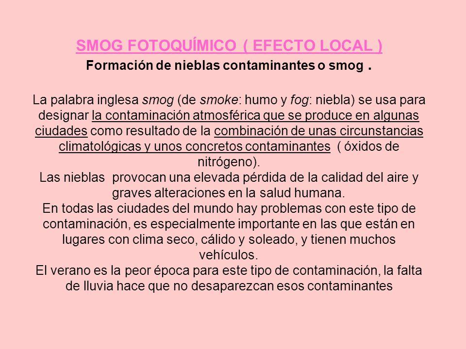 SMOG FOTOQUÍMICO ( EFECTO LOCAL ) Formación de nieblas contaminantes o smog. La palabra inglesa smog (de smoke: humo y fog: niebla) se usa para design