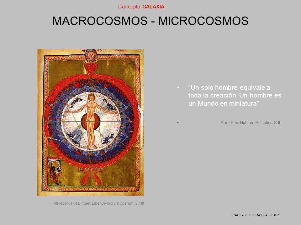 Concepto: GALAXIA PAULA YESTERA BLÁZQUEZ MACROCOSMOS - MICROCOSMOS Un solo hombre equivale a toda la creación. Un hombre es un Mundo en miniatura Abot