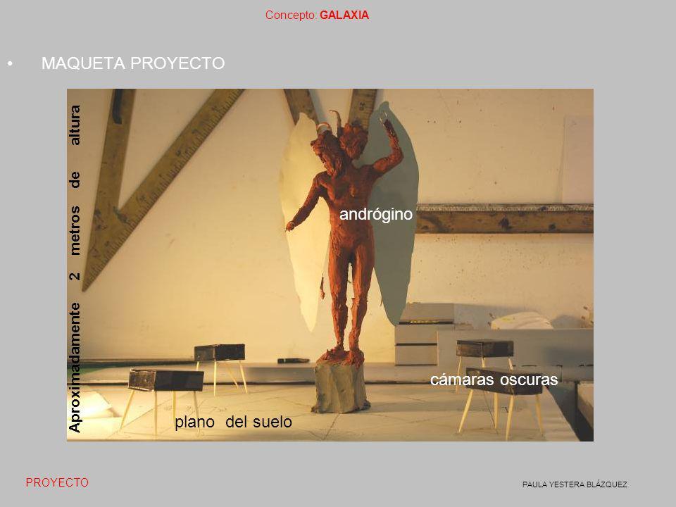 Concepto: GALAXIA PAULA YESTERA BLÁZQUEZ MAQUETA PROYECTO cámaras oscuras andrógino plano del suelo Aproximadamente 2 metros de altura PROYECTO