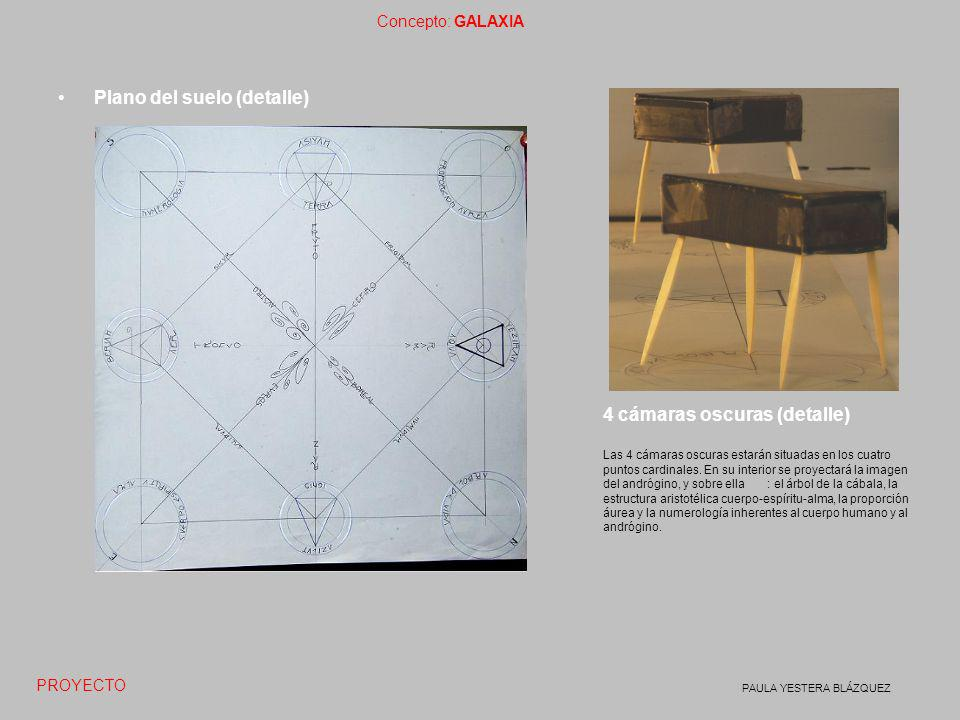 Concepto: GALAXIA PAULA YESTERA BLÁZQUEZ Plano del suelo (detalle) PROYECTO 4 cámaras oscuras (detalle) Las 4 cámaras oscuras estarán situadas en los