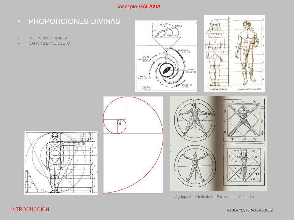 Concepto: GALAXIA PAULA YESTERA BLÁZQUEZ PROPORCIONES DIVINAS PROPORCIÓN ÁUREA CANON DE POLÍCLETO INTRODUCCIÓN Agrippa Von Nettesheim, De occulta phil