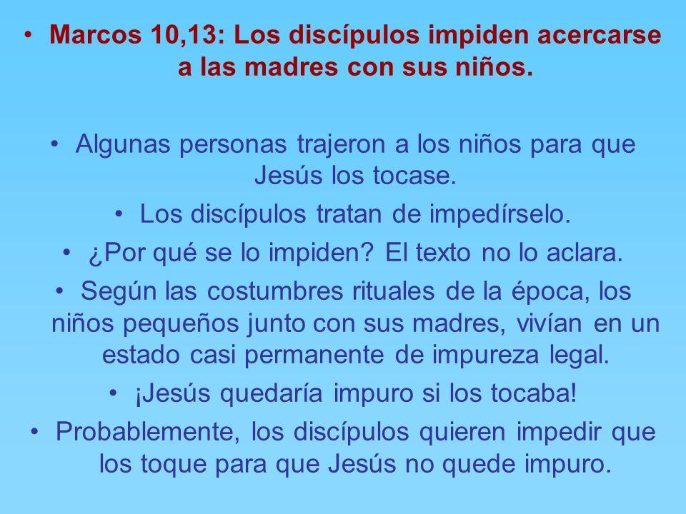 Marcos 10,10-12: Igualdad hombre y mujer. En casa, los discípulos le hacen preguntas sobre este mismo tema del divorcio. Jesús extrae conclusiones y r