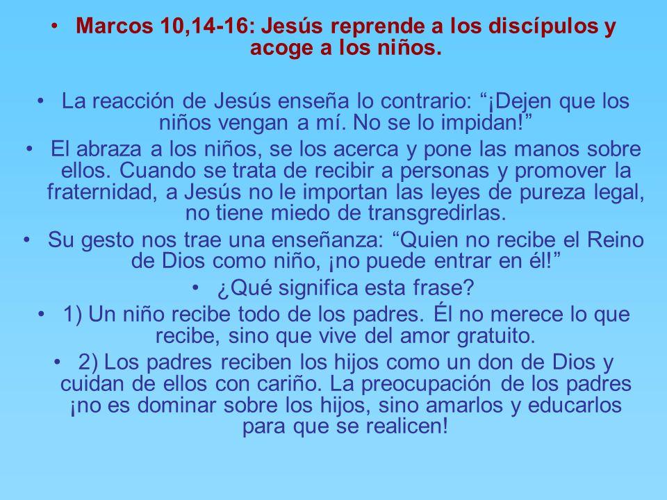 Marcos 10,13: Los discípulos impiden acercarse a las madres con sus niños. Algunas personas trajeron a los niños para que Jesús los tocase. Los discíp
