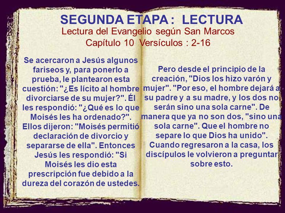 Para ayudar en la lectura del pasaje: Una división del texto para ayudar en la lectura: Marcos 10,1: Indicación geográfica; Marcos 10,2: La pregunta d