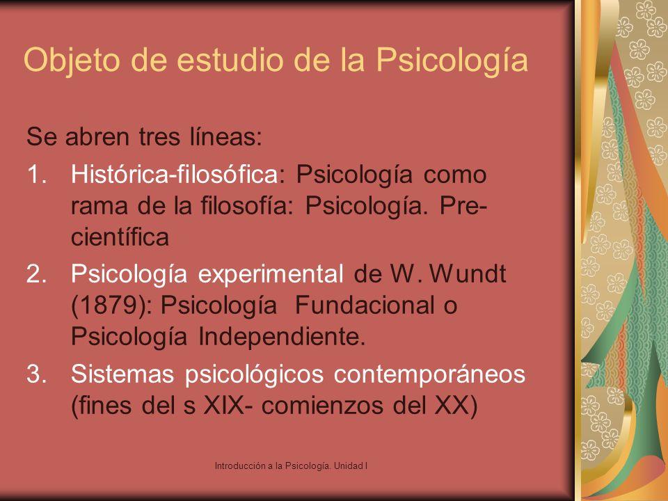 Introducción a la Psicología. Unidad I Objeto de estudio de la Psicología Se abren tres líneas: 1.Histórica-filosófica: Psicología como rama de la fil