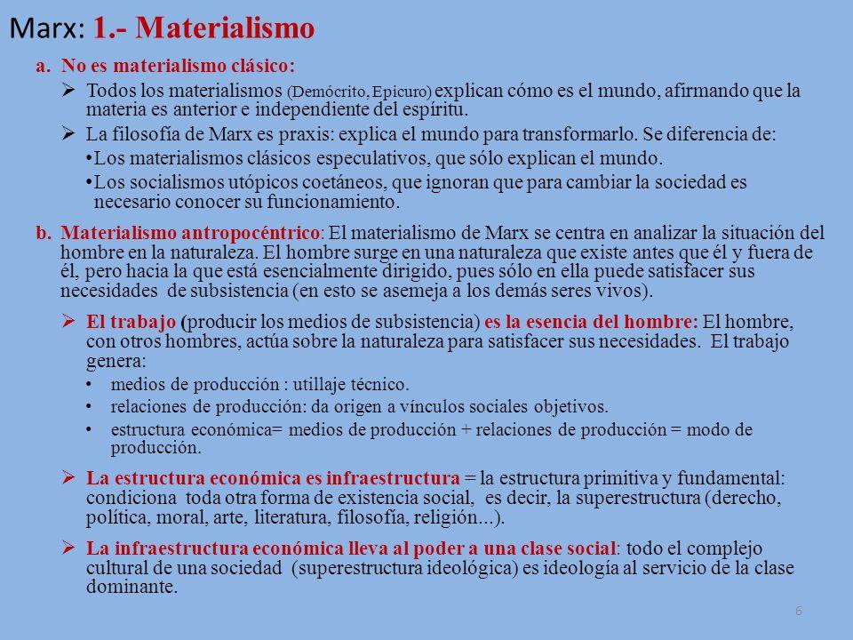 Marx: Materialismo dialéctico y Materialismo histórico a.Marx es el iniciador del socialismo científico. b.No identificar el pensamiento de Marx con m