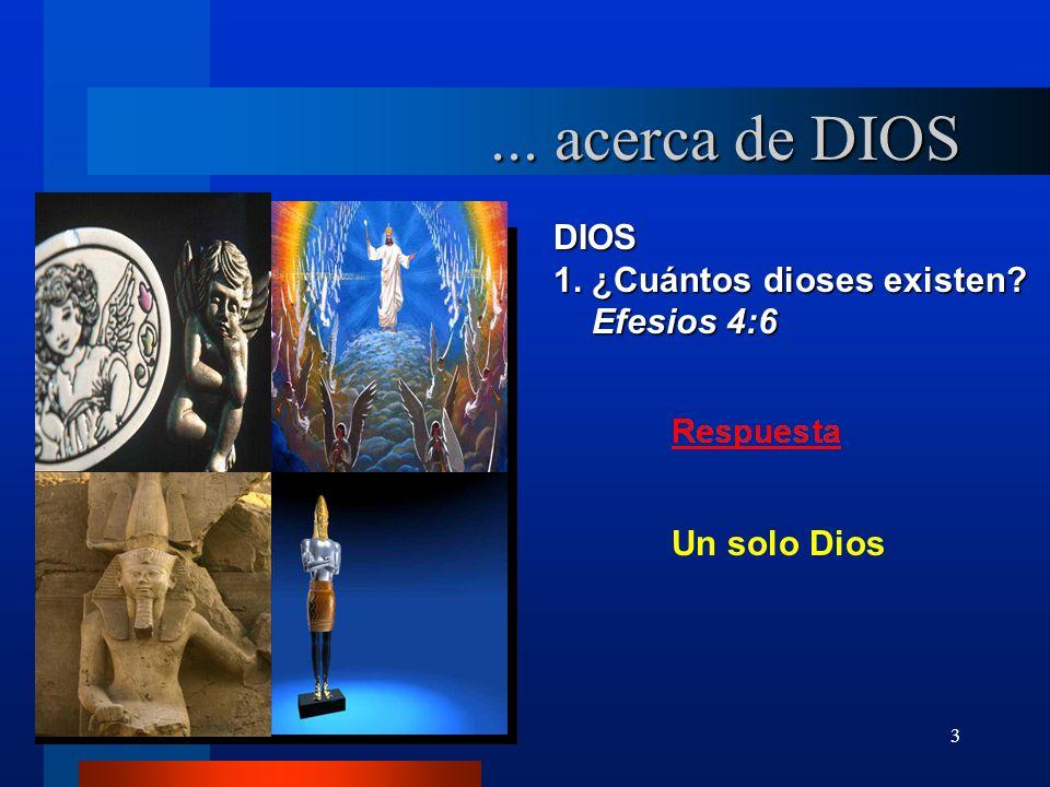 3 DIOS 1. ¿Cuántos dioses existen? Efesios 4:6 Efesios 4:6... acerca de DIOS Un solo Dios