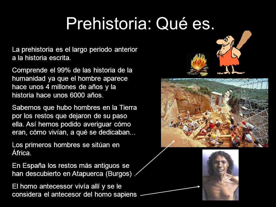 La prehistoria es el largo periodo anterior a la historia escrita. Comprende el 99% de las historia de la humanidad ya que el hombre aparece hace unos
