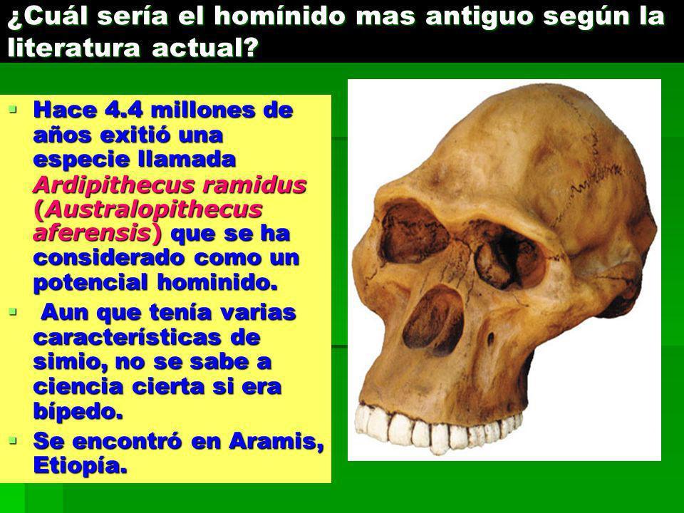 ¿Cuál sería el homínido mas antiguo según la literatura actual? Hace 4.4 millones de años exitió una especie llamada Ardipithecus ramidus (Australopit