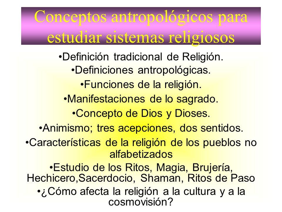 Conceptos antropológicos para estudiar sistemas religiosos Definición tradicional de Religión. Definiciones antropológicas. Funciones de la religión.