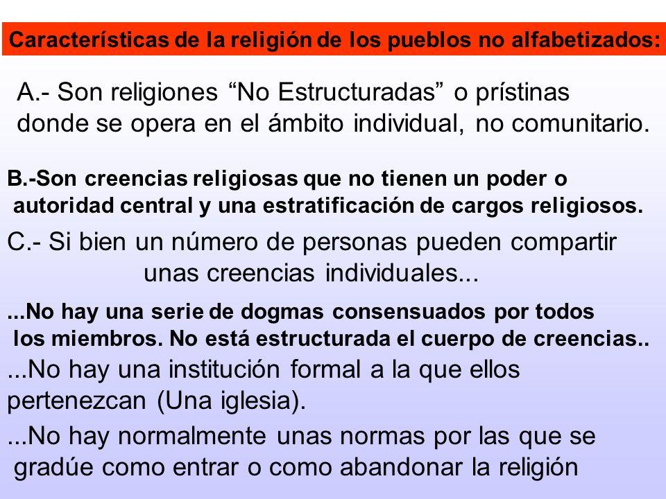 Características de la religión de los pueblos no alfabetizados: A.- Son religiones No Estructuradas o prístinas donde se opera en el ámbito individual