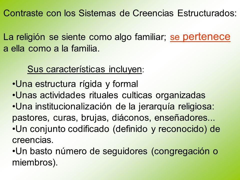 Contraste con los Sistemas de Creencias Estructurados: La religión se siente como algo familiar; se pertenece a ella como a la familia. Sus caracterís