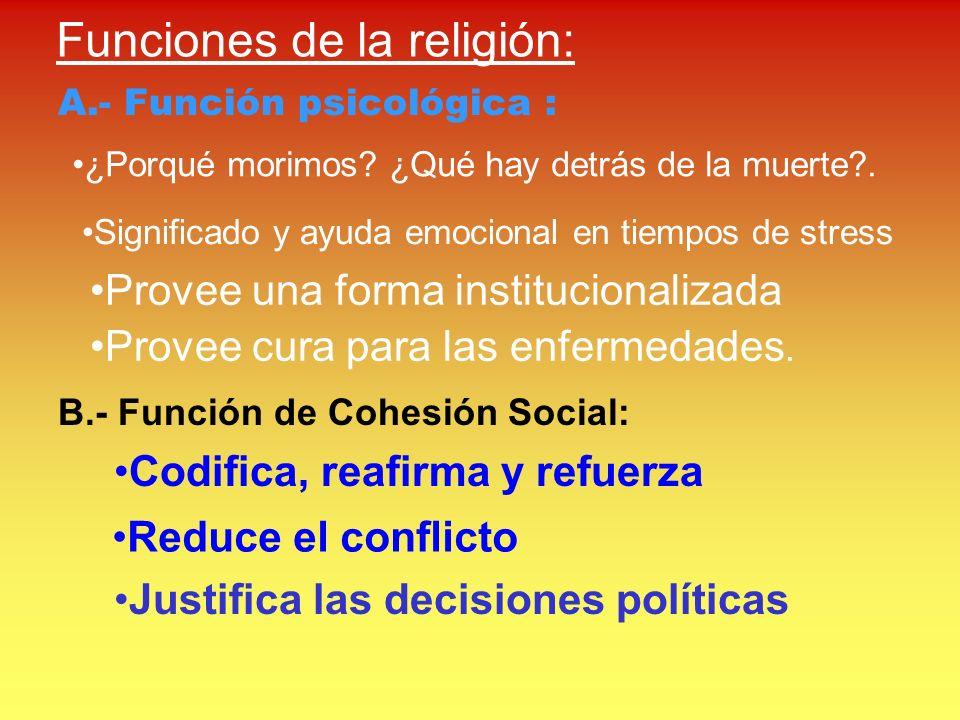 Funciones de la religión: A.- Función psicológica : ¿Porqué morimos? ¿Qué hay detrás de la muerte?. Significado y ayuda emocional en tiempos de stress