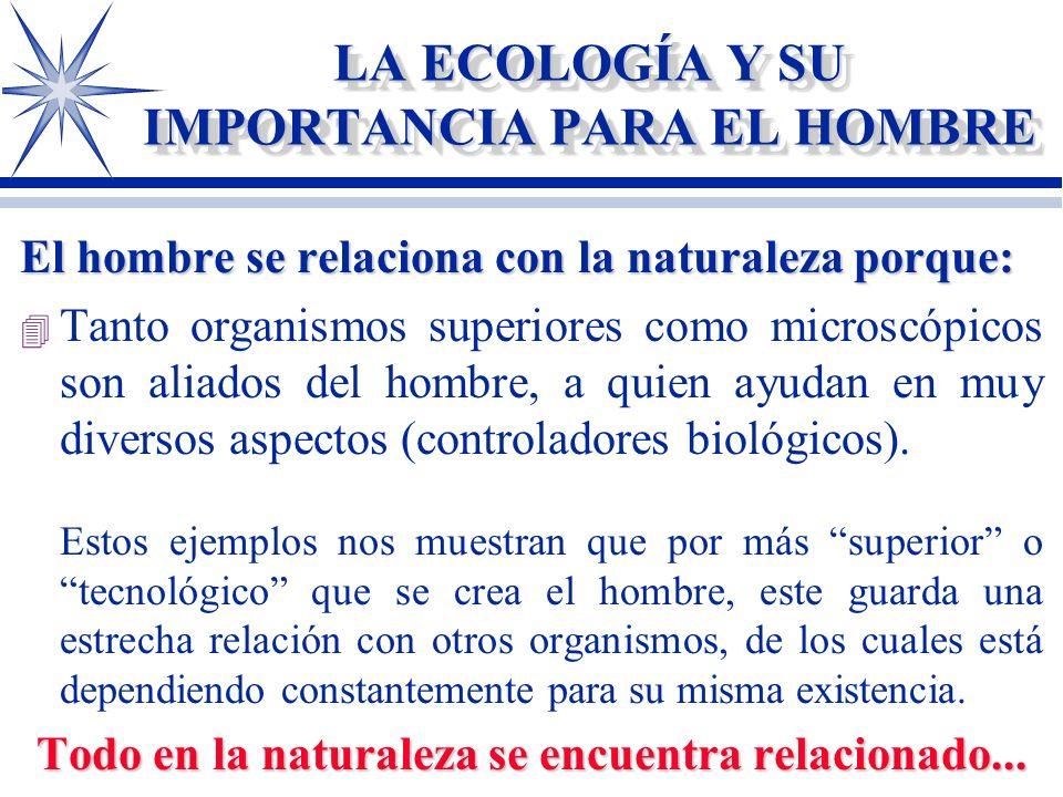 LA ECOLOGÍA Y SU IMPORTANCIA PARA EL HOMBRE El hombre se relaciona con la naturaleza porque: come 4 Todo lo que come proviene de materia vegetal o ani