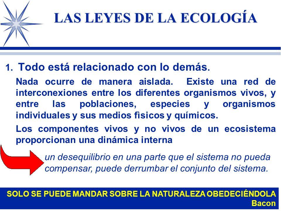 LA ECOLOGÍA Y SU IMPORTANCIA PARA EL HOMBRE El hombre se relaciona con la naturaleza porque: 4 Tanto organismos superiores como microscópicos son alia