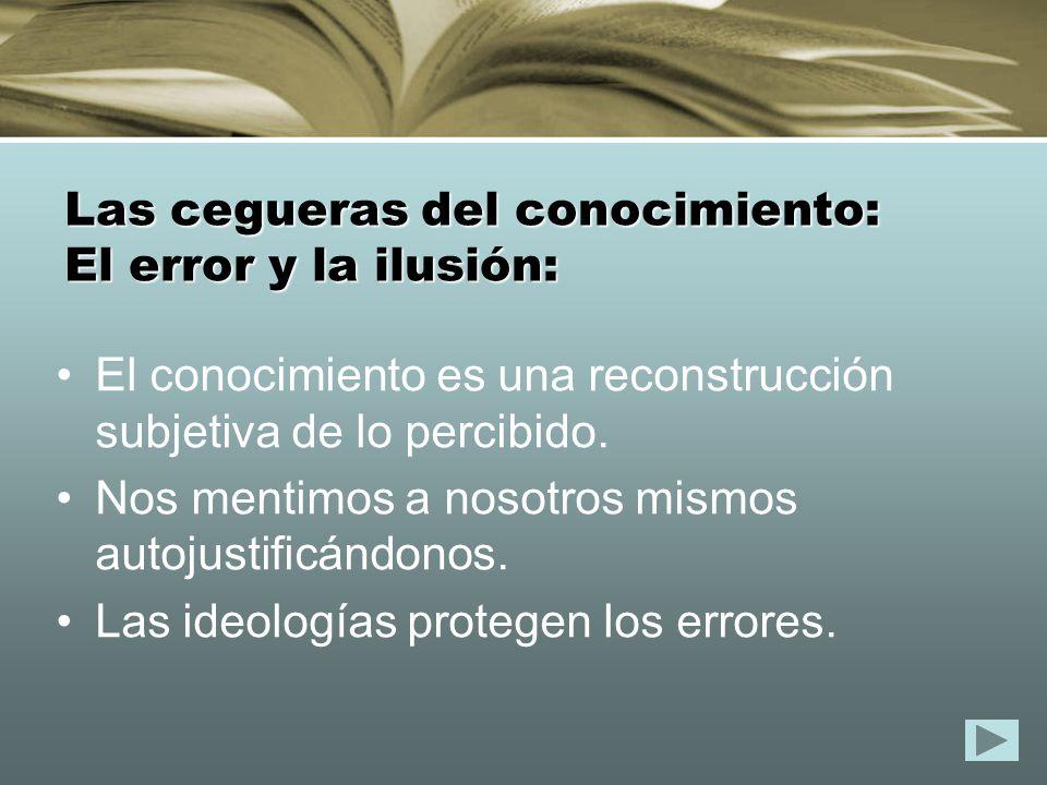 INDICE 1)Las cegueras del conocimiento: el error y la ilusión Las cegueras del conocimiento: el error y la ilusiónLas cegueras del conocimiento: el er